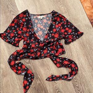 Sexy Red & blue flower crisscross blouse 6